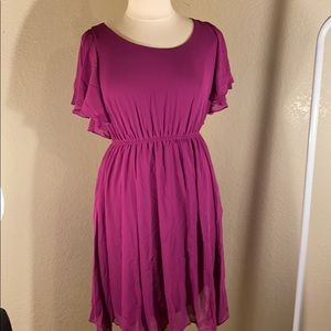 Purple short sleeves dress